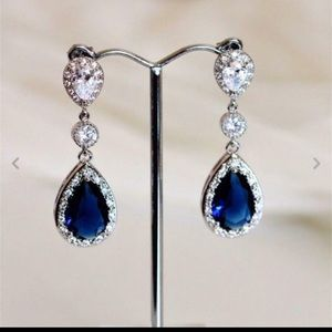 ❤️gorgeous 925 silver sapphire all rhinestone